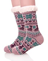 EBMORE Womens Christmas Fuzzy Warm Winter Snowflake Fleece Slipper Crew Socks