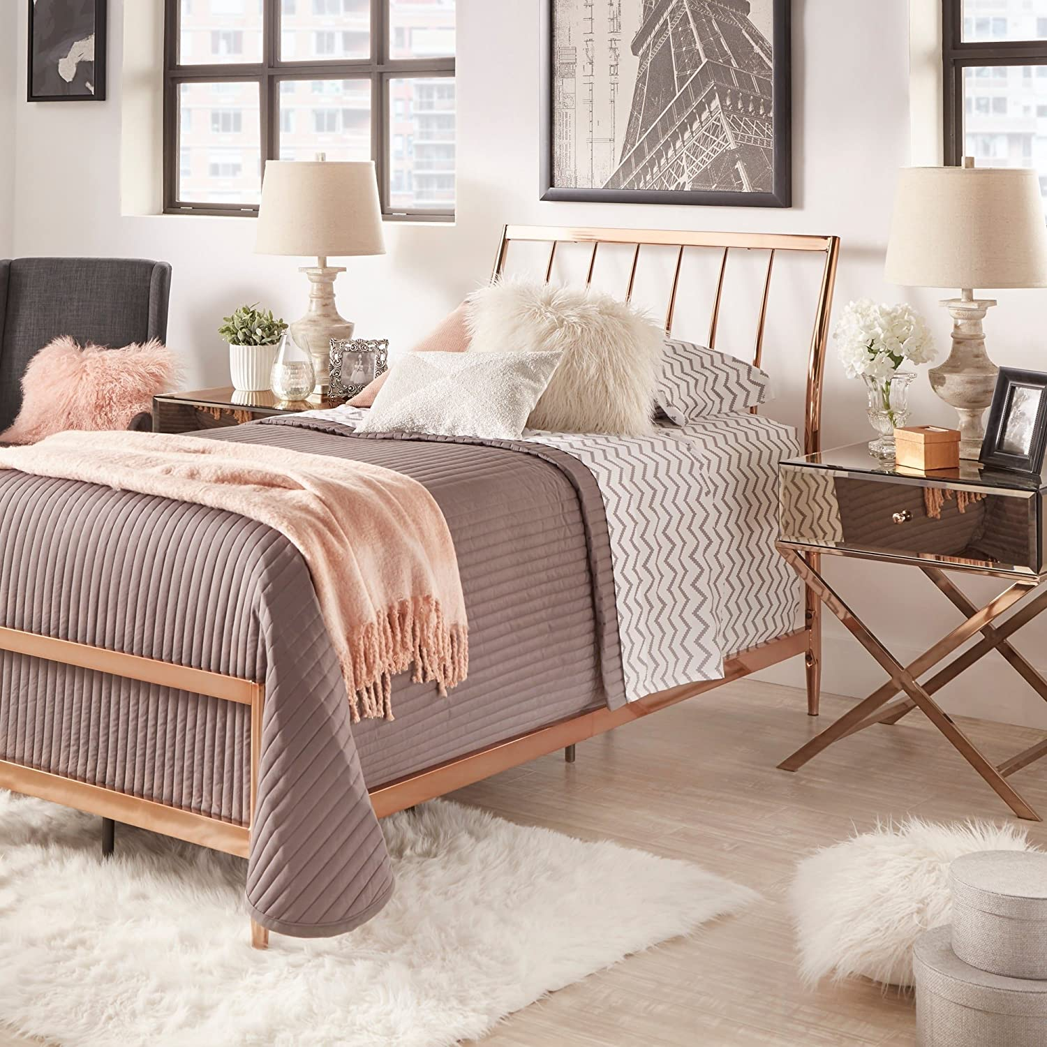 Amazon.com: iNSPIRE Q Lincoln Copper Finish Metal Bed by Bold Queen ...