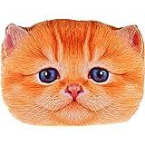 Sumerk 3D Cute Plush Cat Head Shape Pillow Car Sofa Chair Back Cushion, Cat Face Decorative Pillowcase Gift