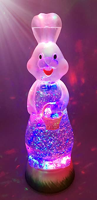 Bunny Rabbit Swirl Dome Snowglobe With Color Changing Led Light Up Glitter Liquid Ornament Easter Decoration