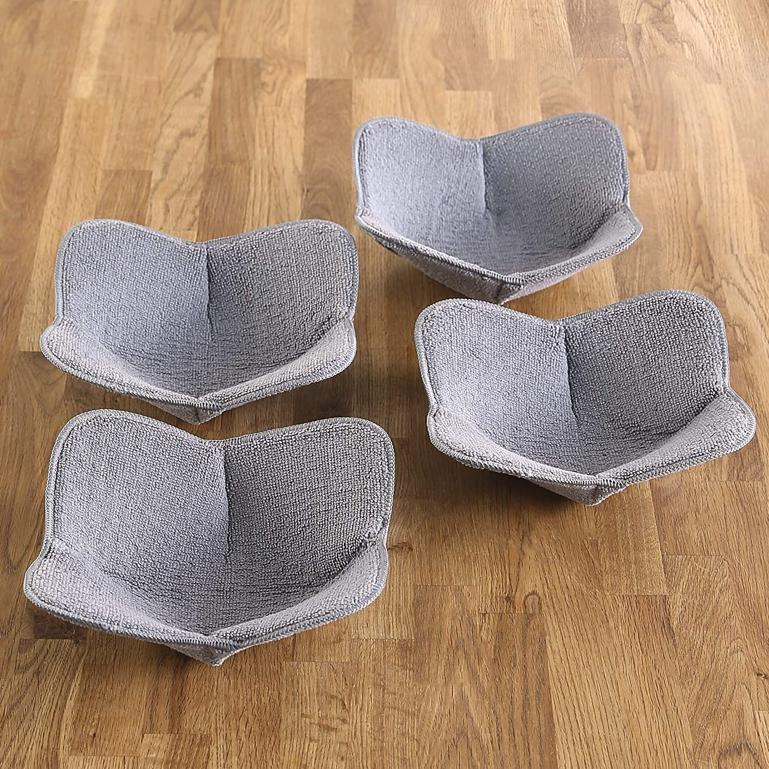 MSR Imports Microwave Bowl Huggers – Hot Pads for Microwaves - Microwave Oven Mitt - Set of 4 - Gray