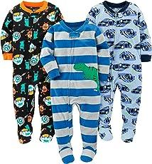 Simple Joys por Carter 's Boys' Paquete de 3Ajuste Holgado Resistente al Fuego Forro Polar Pijamas con