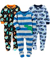 Simple Joys by Carter's Boys' 3-Pack Loose Fit Flame Resistant Fleece Footed Pajamas