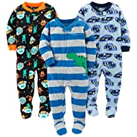 Baby and Toddler Boys' 3-Pack Loose Fit Fleece Footed Pajamas