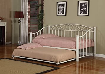 cream white finish metal twin size day bed daybed frame with metal slats