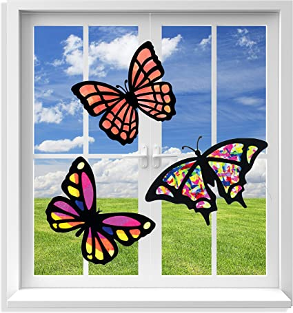 3 Sets of Stained Glass Effect Paper Suncatchers VHALE Suncatcher Kit for Kids Butterfly Great Travel Toys Classroom Arts and Crafts 9 Cutouts, 27 Tissue Papers Party Favors Window Art
