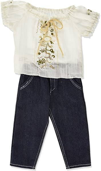"""Denim Jeans with Embroidered Flowers  Fits 18/"""" American Girl Doll"""