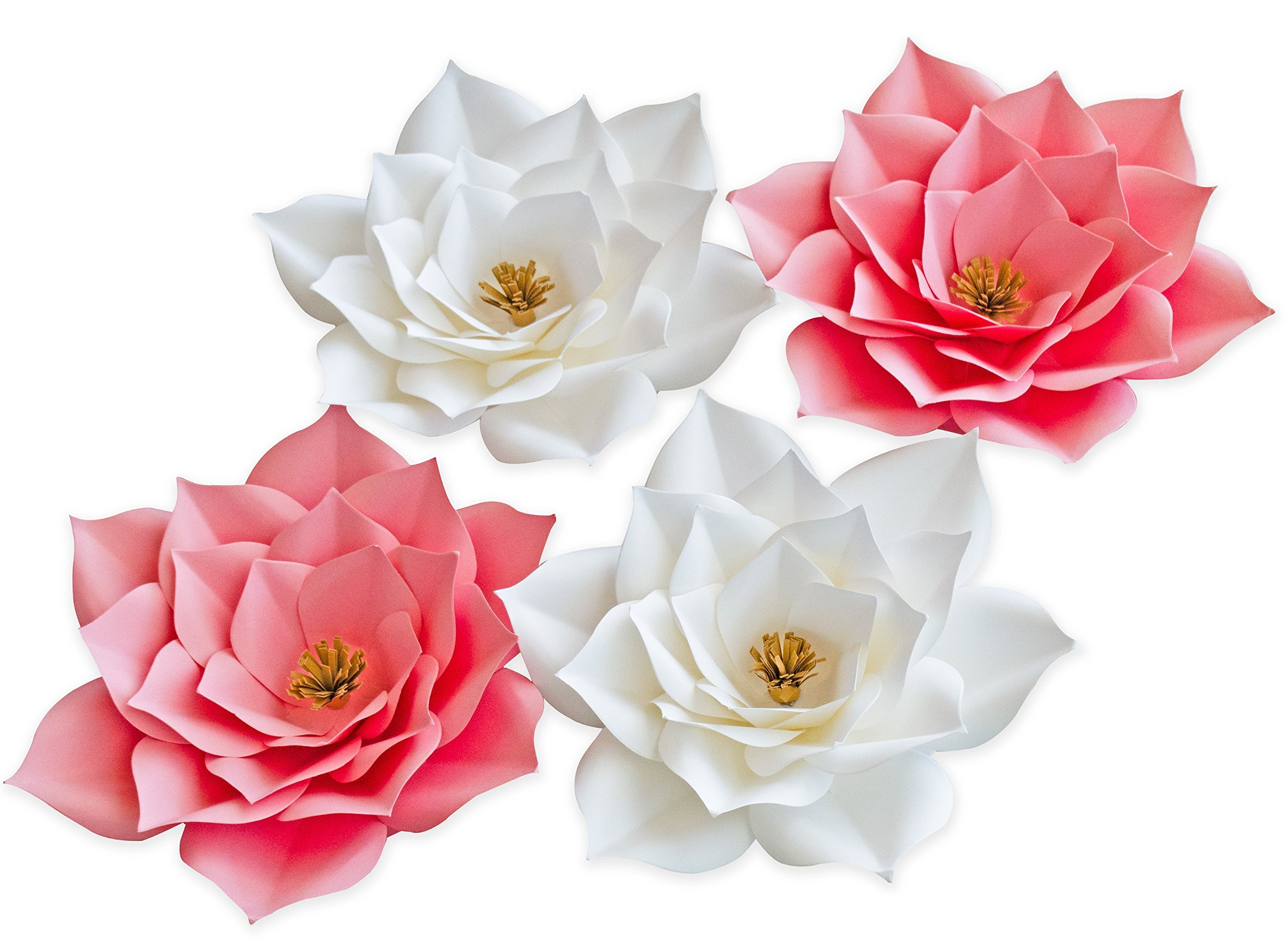 Keira Prince Crafts Paper Flowers, Beautiful Handmade Set of 4 Pink Flowers 20cm/8inch (Pink & White)