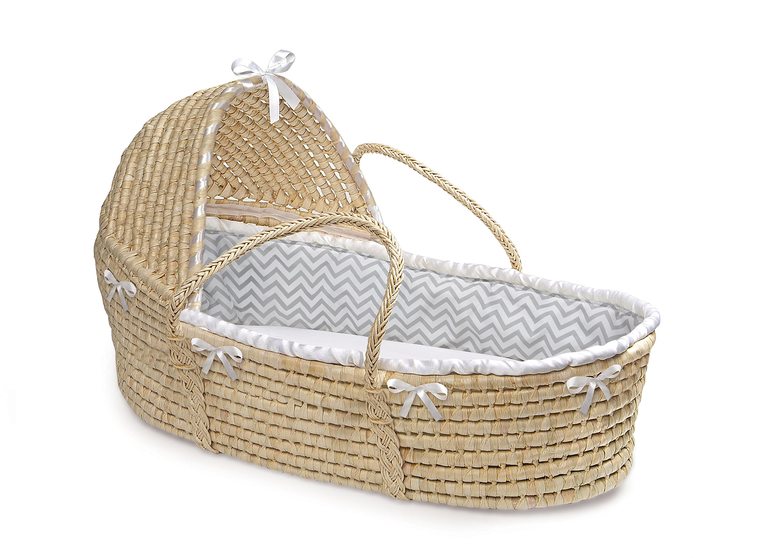 Badger Basket Natural Moses Basket with Hood, Gray Chevron Bedding