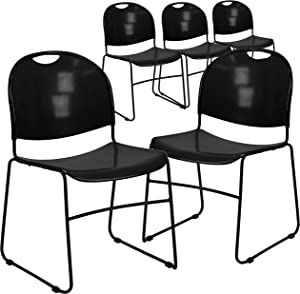 Flash Furniture 5 Pack HERCULES Series 880 lb. Capacity Black Ultra-Compact Stack Chair with Black Powder Coated Frame