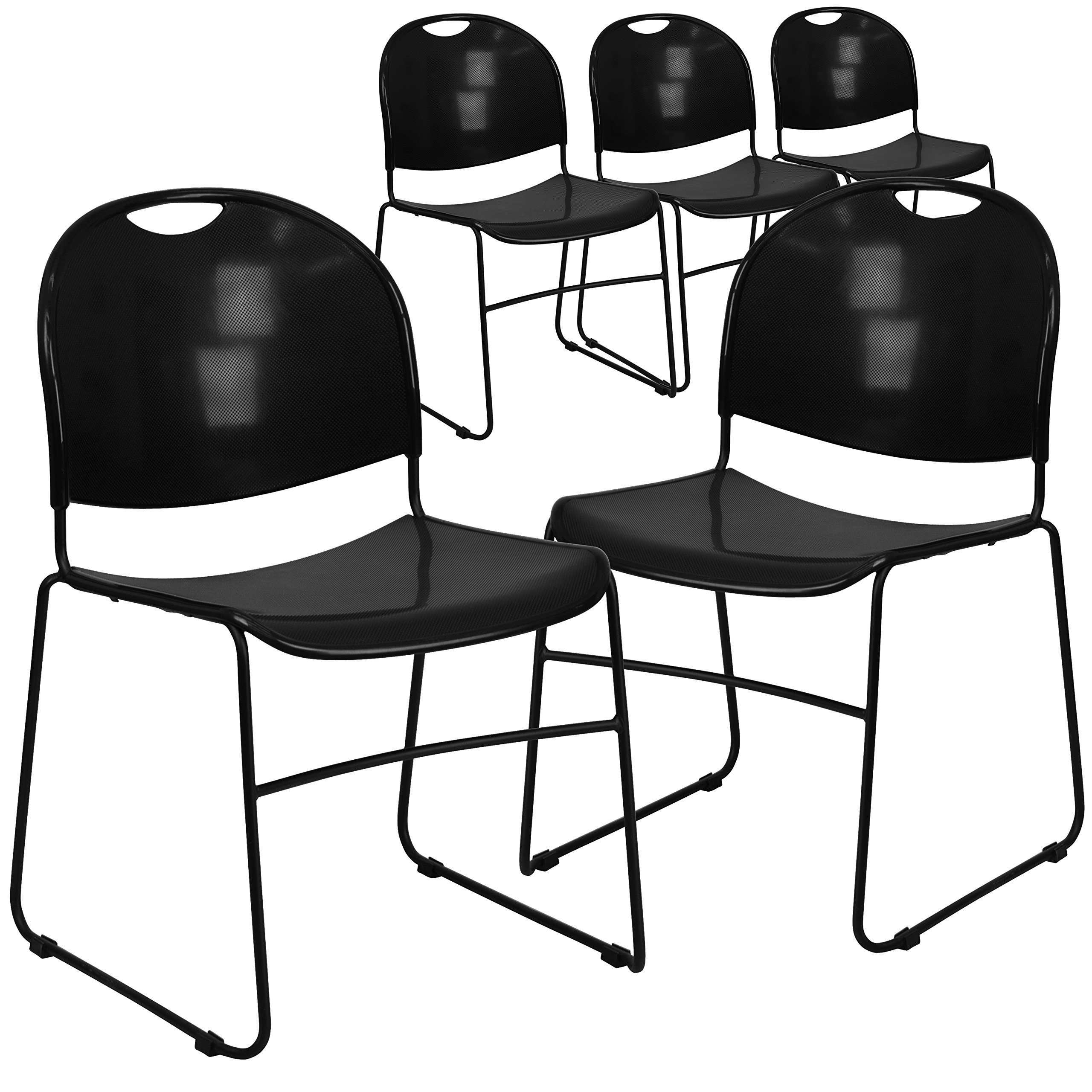 Flash Furniture 5 Pk. HERCULES Series 880 lb. Capacity Black Ultra-Compact Stack Chair with Black Frame by Flash Furniture