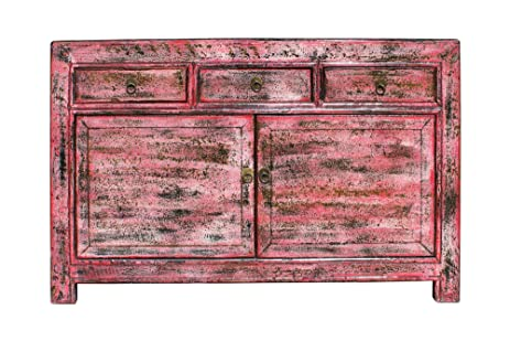 Oriental Distressed Rustic Pink Credenza Sideboard Buffet Table Cabinet  Acs3154