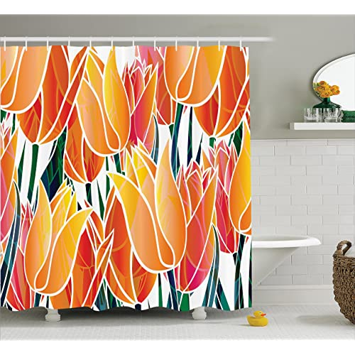 Ambesonne Tulip Shower Curtain Exquisite Flourishing Garden With Vivid Colored Endless Petals Eco Illustration