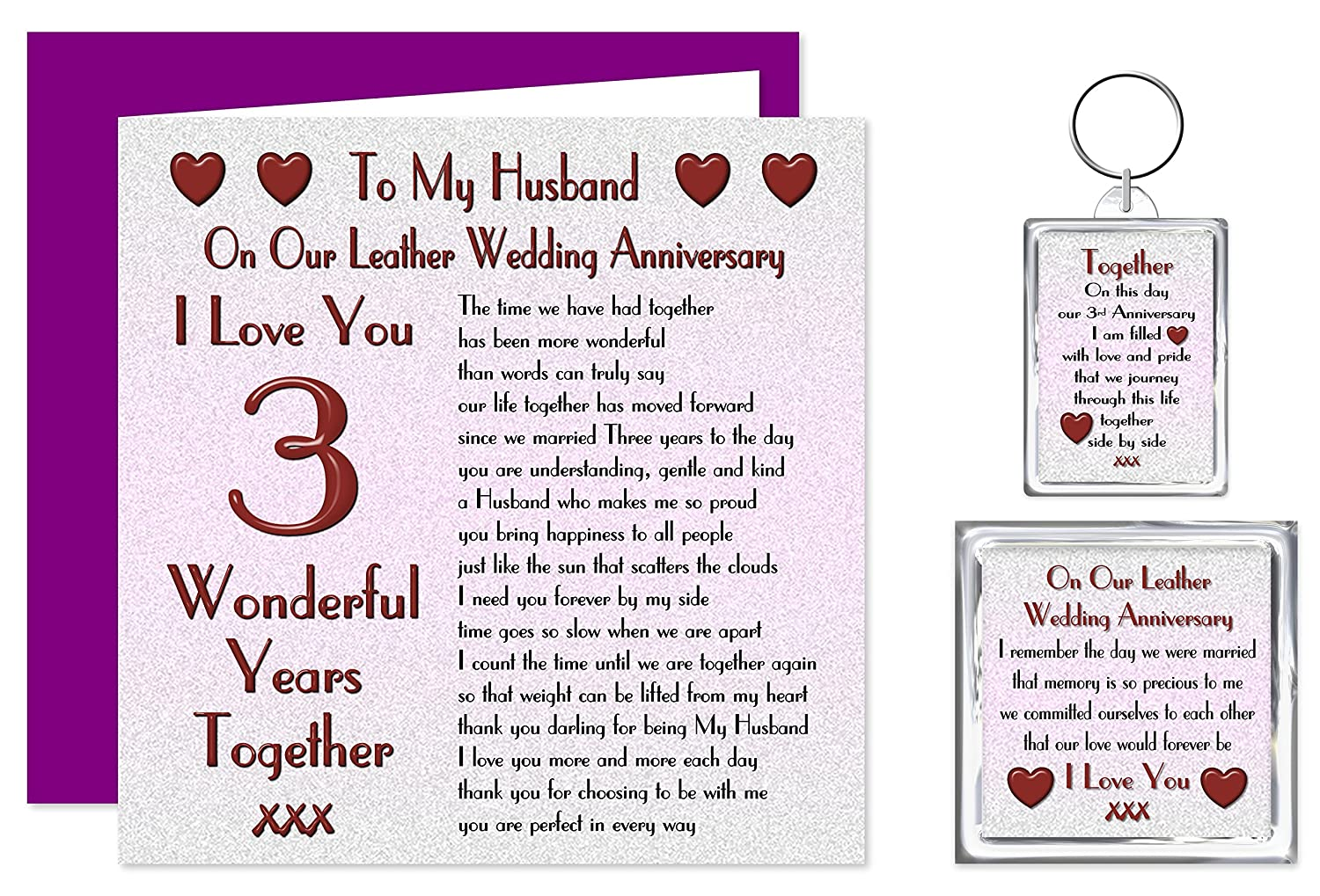 My Husband 3rd Wedding Anniversary Gift Set Card Keyring Fridge