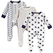 Touched by Nature Baby Organic Cotton Sleep and Play, 3 Pack, Hedgehog, 0-3 Months (3M)