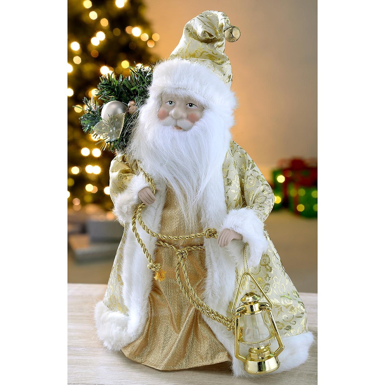 Flying santa fibre optic christmas decoration - Werchristmas Father Christmas Tree Top Topper Decoration 30 Cm Cream Gold Amazon Co Uk Kitchen Home