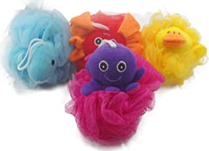 """Loofah Exfoliating Shower Stuffed Sponge Pouf Mesh Brush With Animal Toys - Bath Spa Puff Scrubber Ball - Body poof Cleaner For Children Kids - Rich Foams Bubble(4.7"""" each) Pack of 4"""