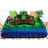 Minecraft Creeper Themed Birthday Cake Topper Set Featuring Creeper Figure and Decorative Themed Accessories
