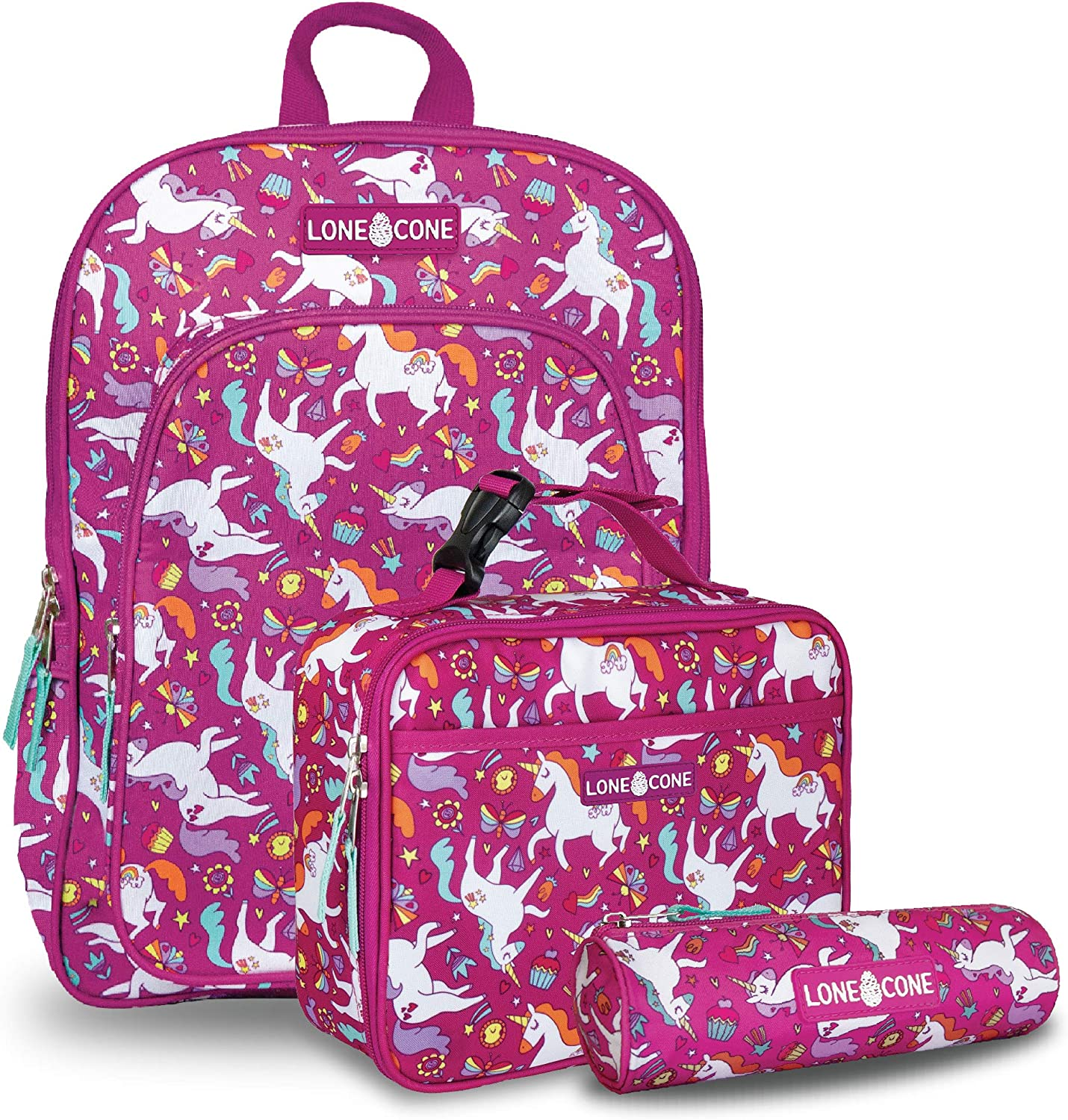 LONECONE Kids' 3-Piece Back to School Kit - Backpack, Lunchbox & Pencil Case- Mary the Unicorn
