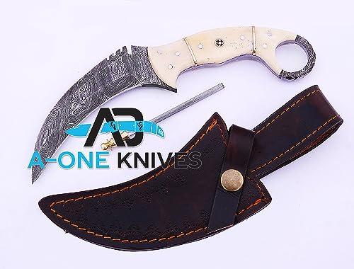 Camel Bone 8.75 Fixed Blade Custom Handmade Damascus Steel Karambit Hunting Knife 100 Prime Quality Plus Best Quality Gift Blade Sharpener LIMITED OFFER