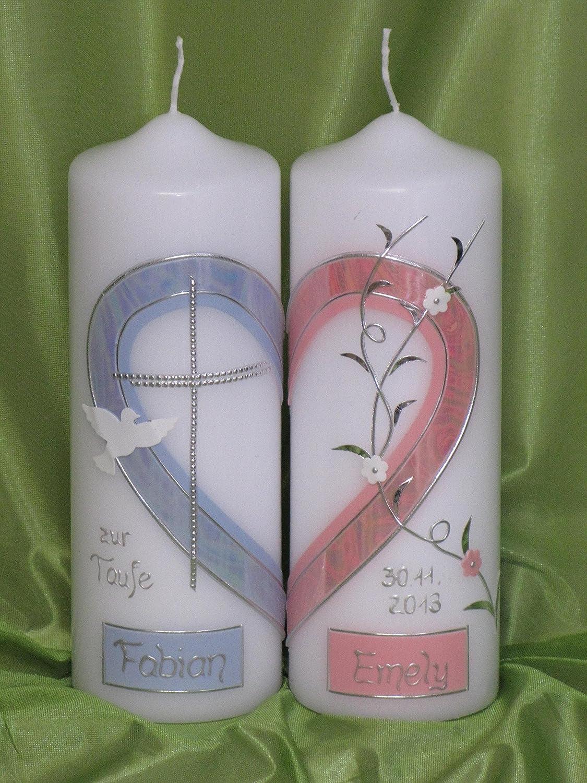 TZ 5 Geschwisterkerze ; 2 Kerzen ergeben ein Motiv /♥ ein Herz /♥ inklusive Beschriftung Taufkerze f/ür Zwillinge