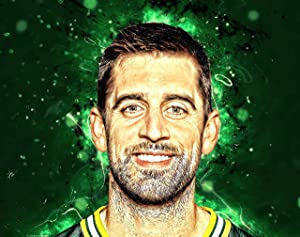 Aaron Rodgers Green Bay Packers Poster Print, American Football Player, Real Player, Aaron Rodgers Decor, Canvas Art, Posters for Wall, ArtWork SIZE 24''x32'' (61x81 cm)