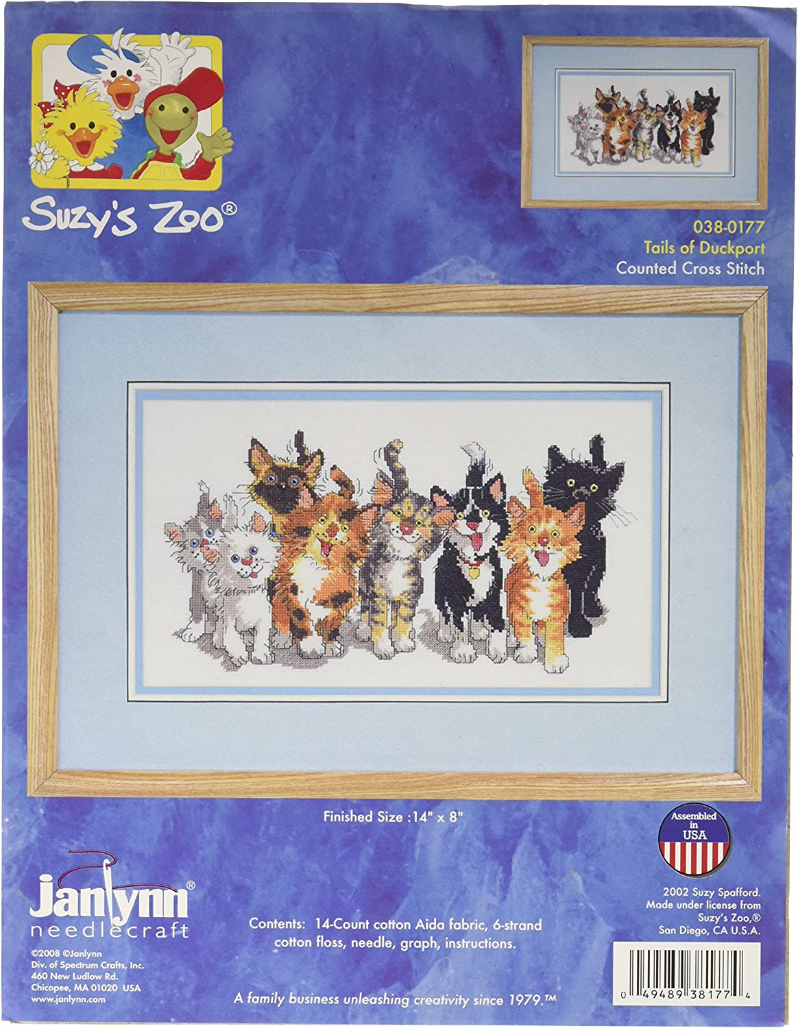 Row of Teacups Janlynn Counted Cross Stitch Kit