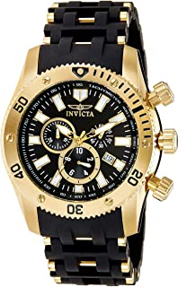 Invicta Mens 50mm Sea Spider Collection Chronograph Black Polyurethane Bracelet Stainless Steel Watch