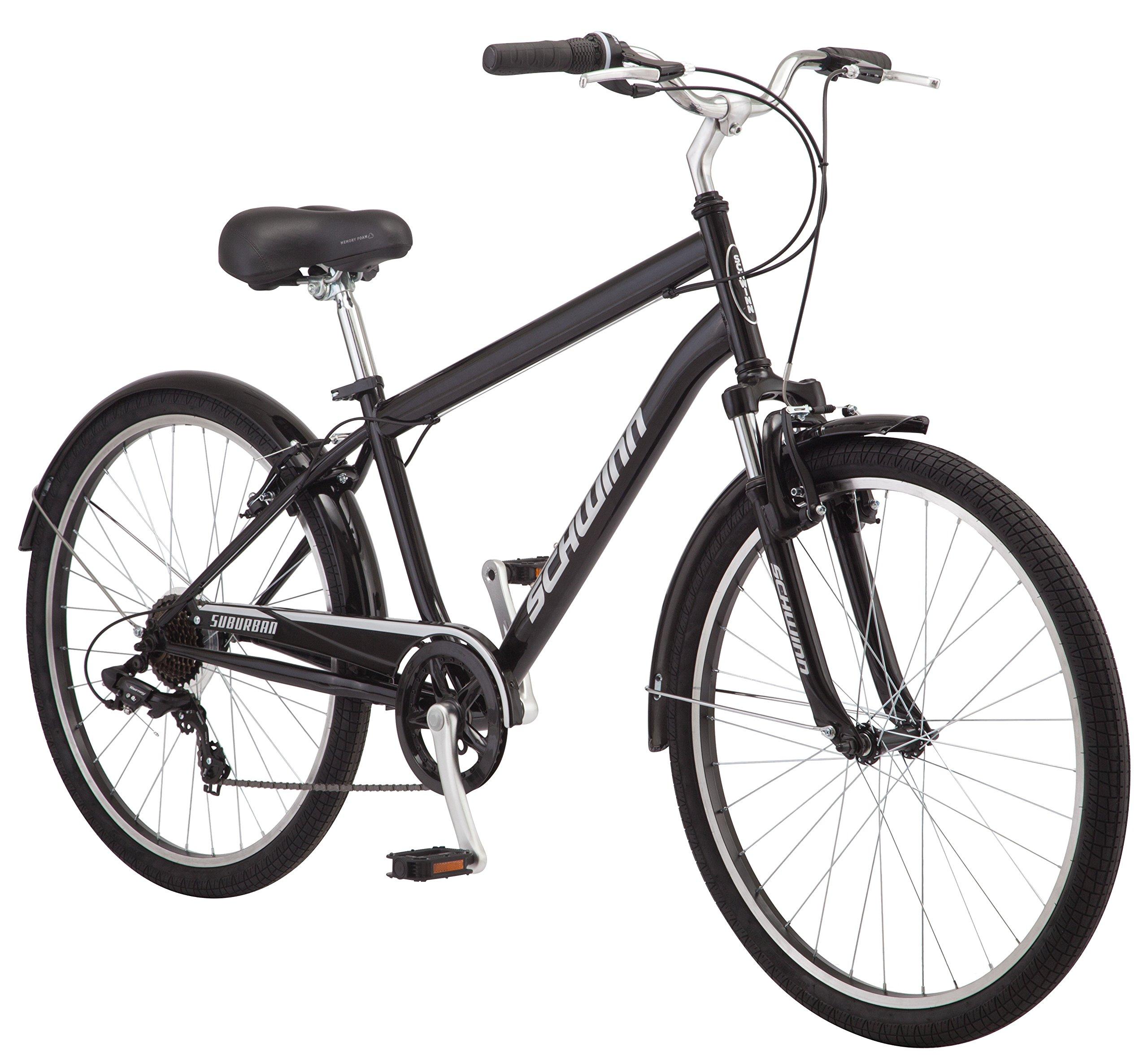 Schwinn Suburban Comfort Hybrid Bike, Featuring Step-Over Steel Frame and 7-Speed Drivetrain with 26-Inch Wheels, Medium/18-Inch Frame, Black/White by Schwinn