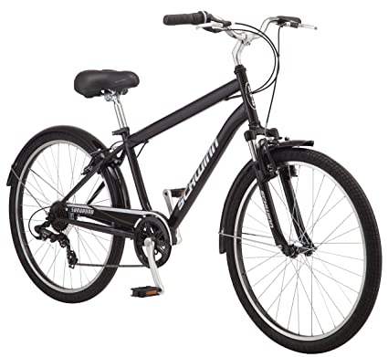 Schwinn Suburban Comfort Hybrid Bike, Featuring Step-Over Steel Frame and 7-Speed Drivetrain with 26-Inch Wheels, Medium/18-Inch Frame, Black/White best hybrid bikes
