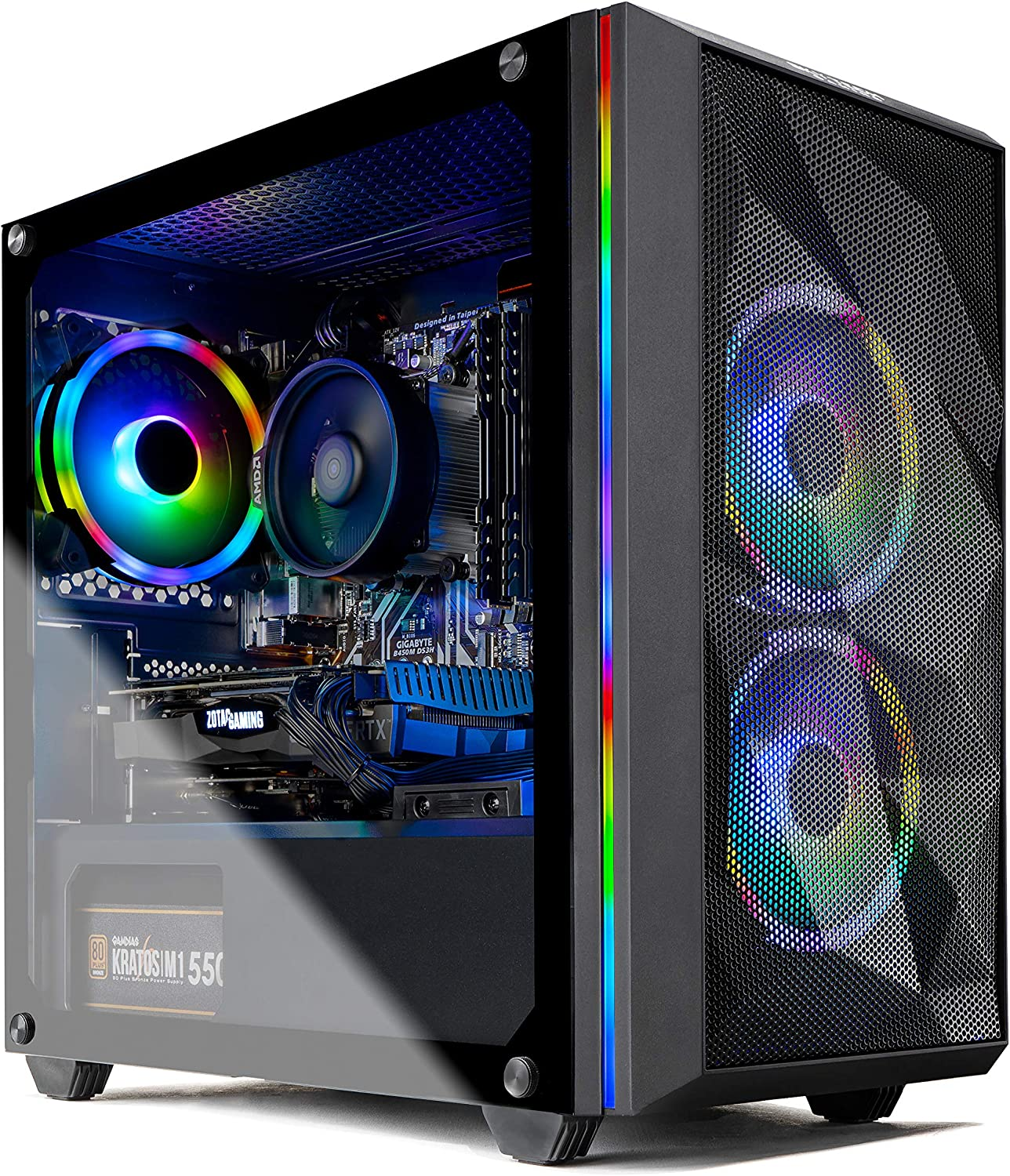 Skytech Chronos Gaming PC Desktop - AMD Ryzen 3 3100, NVIDIA GTX 1650 Super 4GB, 8GB DDR4, 500GB SSD, A320 Motherboard, 550 Watt Bronze