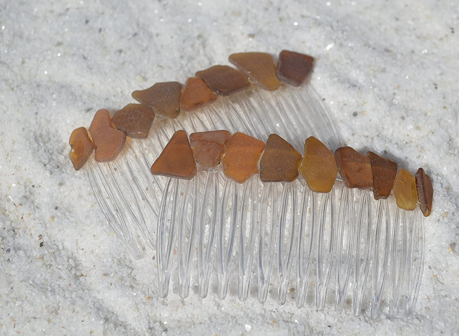 Genuine Shades of Brown Sea Glass Hair Combs Set of 2