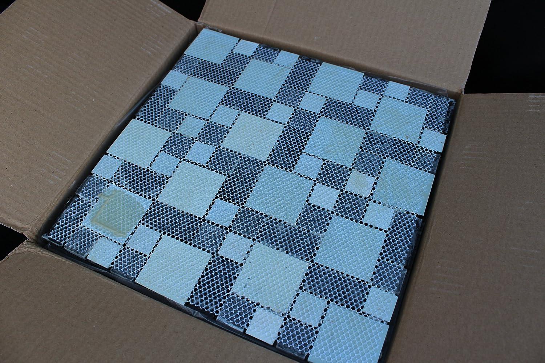 10 SHEET 10 SQUARE FEET Black White Gray Grey Mosaic Tiles Mesh ...