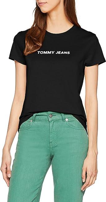Tommy Hilfiger Crew Logo Camisa, Negro (Tommy Black 078), X-Large para Mujer: Amazon.es: Ropa y accesorios