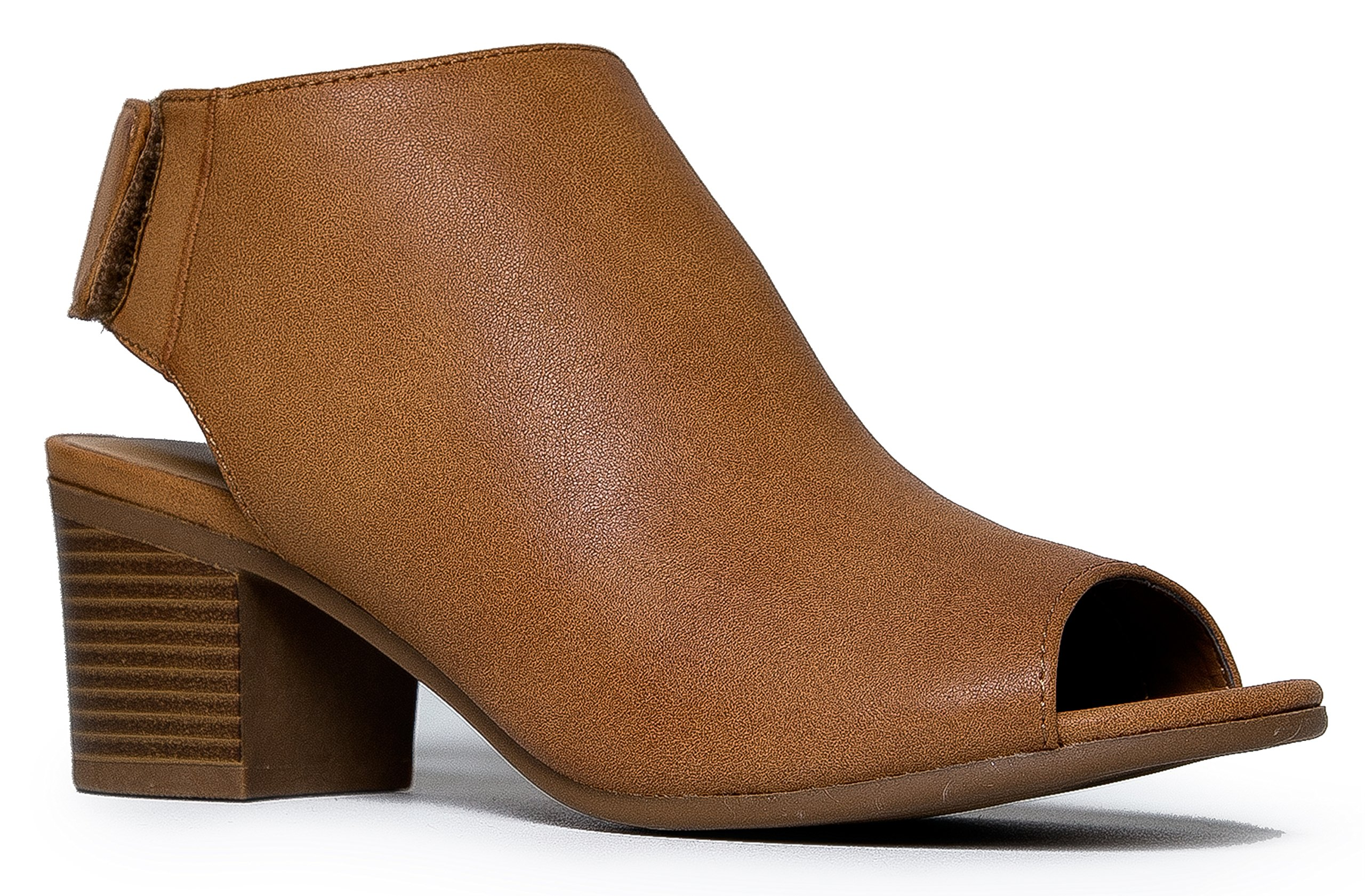 Peep Toe Bootie – Low Stacked Heel - Open Toe Ankle Boot Cutout Velcro Enclosure,Tan Pu,8 B(M) US by J. Adams (Image #1)