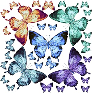 Amaonm 30 PCS Giant Butterfly Wall Sticker Removable DIY Butterflies Wall Decals Blue Purple Green Yellow Butterfly Wall Decor for Nursey Teens Boys Girls Baby Bedroom Living Room Bathroom