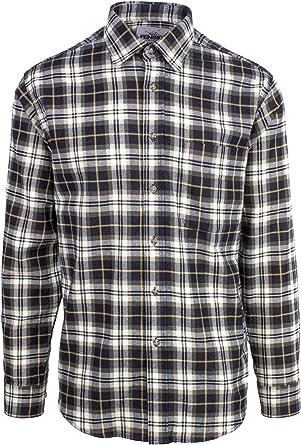Mens Plaid Flannel Lumberjack Tartan Check Shirt Brushed Cotton Casual Shirts,Black,L