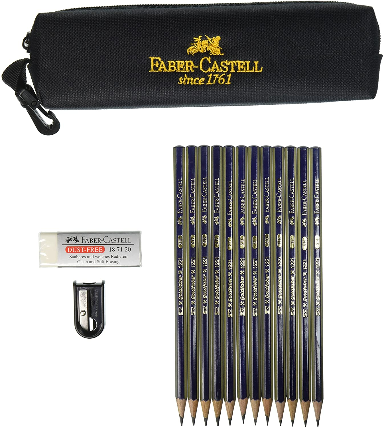 Faber-Castell 9000 Art Graphite Sketch Best Gifts Wood Pencil Sets 12 Counts With 12 Degree of Hardness 1 Large Dust Free Eraser 1 Faber Sharpener + 1 Kneaded Art Eraser 2H, H, F, HB.