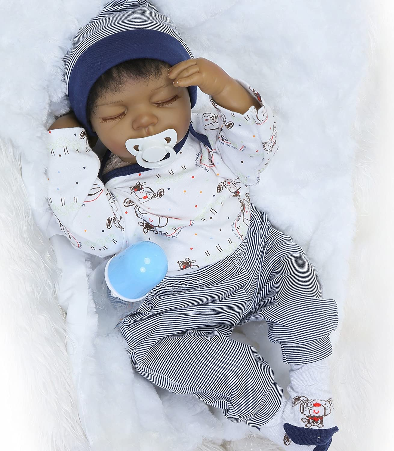 Amazon com sleeping reborn baby dolls boys african american boy black doll 22inch 55cm silicone babies eyes closed realistic cute doll handmade weighted