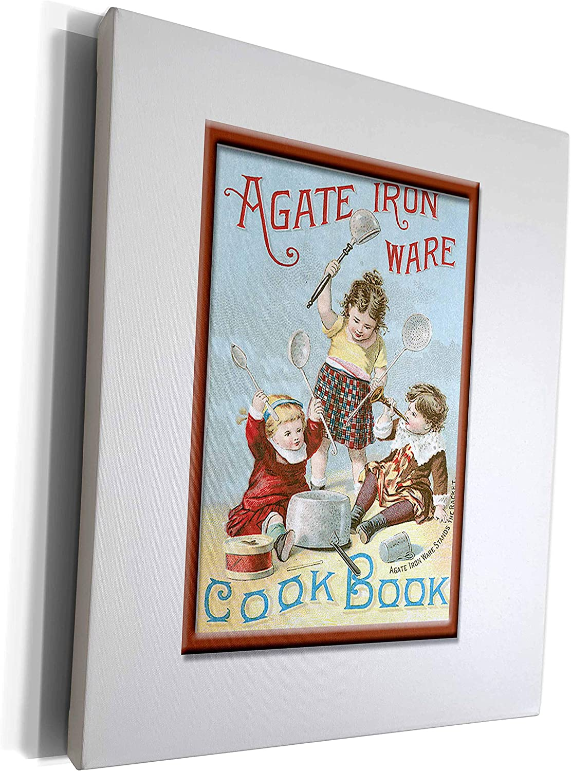 3dRose BLN Vintage Food and Drink Labels and Posters - Vintage Agate Iron Ware Cook Book Cover - Museum Grade Canvas Wrap (cw_149247_1)