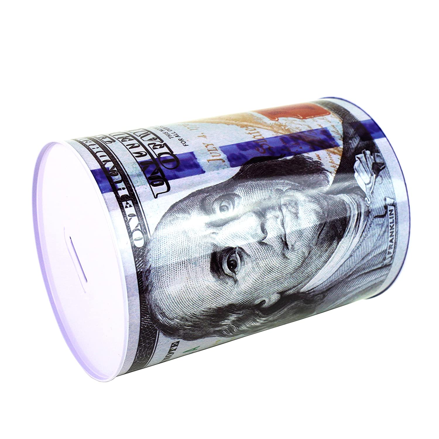 $100 Dollar Bill Piggy Bank 8.5 Tall Coin Saving Money Currency Benjamin Franklin C Note Tin Can Banknote Jar by Spreezie