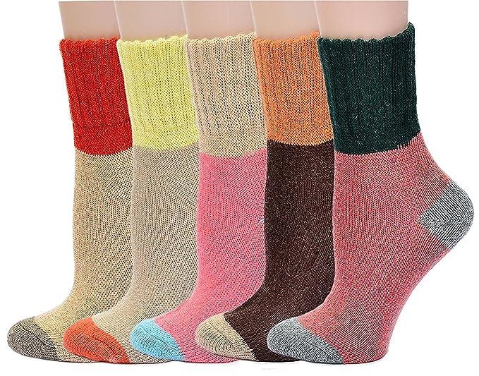 Vellette Calcetines De Algodš®n Lana calcetines tšŠrmicos varios dise?os colores invierno mujer--Ideales para invierno (5 Pares): Amazon.es: Ropa y ...