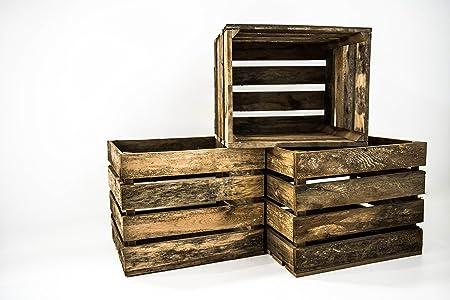 Set 3 Cajas Grandes Envejecidas Sam, Madera, Decoración, Almacenamiento, Marrón, 50x40x30cm. Incluye Imán Personalizable de Regalo.: Amazon.es: Hogar
