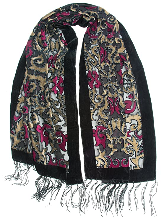 70s Jackets, Furs, Vests, Ponchos Bohomonde Gia Scarf - Silk Brocade Print Velvet Burnout Scarf with Fringe Ends $14.95 AT vintagedancer.com