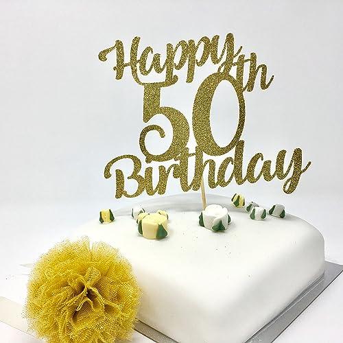 Happy 50th Birthday Cake Topper Gold Shinny Decoration Amazoncouk Handmade