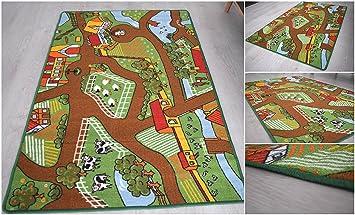 Kinderteppich Kinder Teppiche Jungen Spielmatte Straßen Farm ...