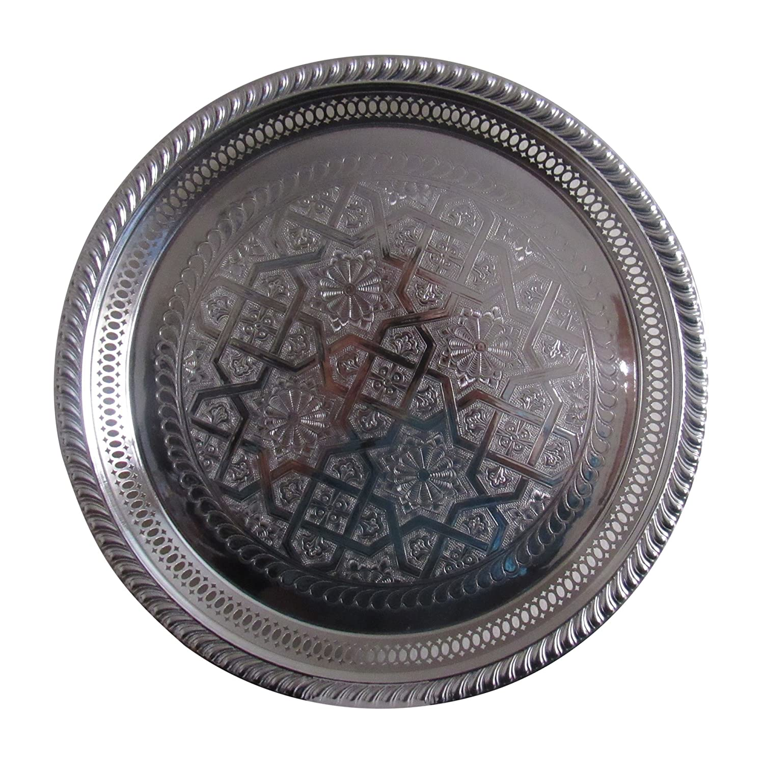 """Handmade Moroccan Silver Plated Engraved Round Tea Tray Bring Home a Beautifully Functional Near East Tradition 13/"""" Diameter"""