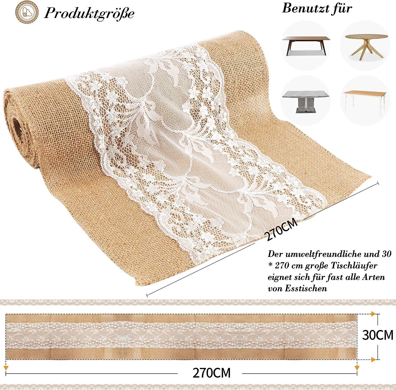 Jute Tischl/äufer 5 St/ück Tischl/äufer Vintage f/ür Hochzeit Festival Event Tischdekoration 30x275cm
