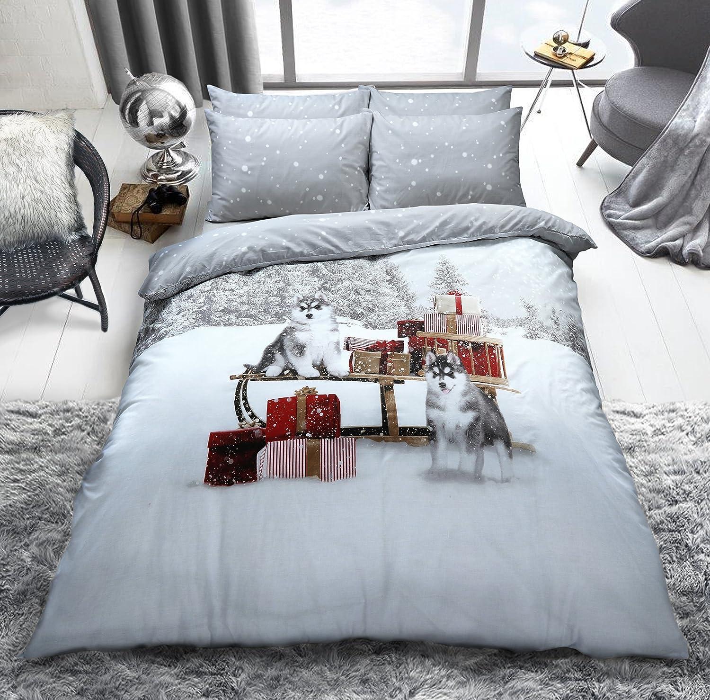 Huskies Christmas Single Duvet Set Polyester-cotton Cover Bedding Xmas Sets