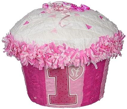 Amazon.com: Primer cumpleaños magdalena rosa Piñata: Toys ...